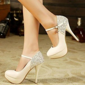Ivory Mary Jane Pumps Glitter Platform High Heels Shoes