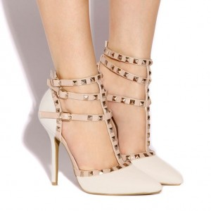 Ivory T Strap Sandals Studded Closed Toe Stiletto Heels