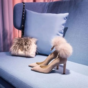 Blush Fur Heels - Escarpins à bride de cheville à bout pointu