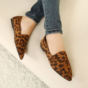 Leopard Print Flats Brown Slip-on Comfortable Shoes