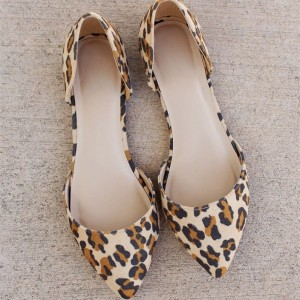 Léopard Imprimer Flats Pointy Toe Double D'orsay Pumps Chaussures