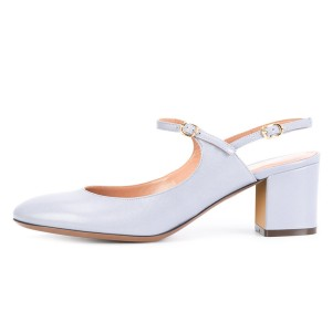 Light Grey Mary Jane Slingback Block Heels Pumps