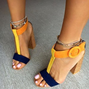 Orange and Navy T Strap Sandals Chunky Heels Sandals for Women
