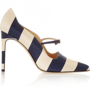 Navy and Beige Stripes Office Heels Stiletto Heel Pumps