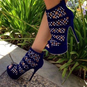Navy Hollow out Caged Summer Boots Rivets Peep Toe Platform Sandals