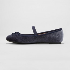 Navy Velvet Mary Jane Chaussures Ballerines bout rond Flats