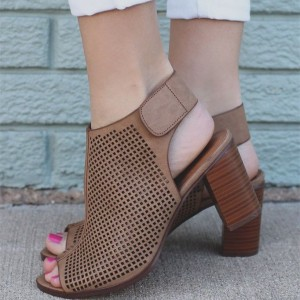 Brown Chunky Heels Open Toe Boots Slingback Summer Boots