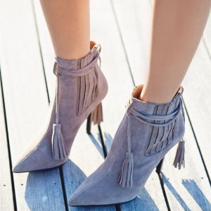 Grey Fashion Boots Suede Stiletto Heels Pointy Toe Tassels Ankle Boots