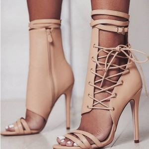 Nude Lace up Sandals Stiletto Heels Sandales d'été à bout ouvert