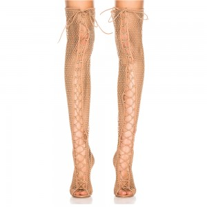 Nude Nets Peep Toe Stiletto Heel Thigh High Lace Up Boots