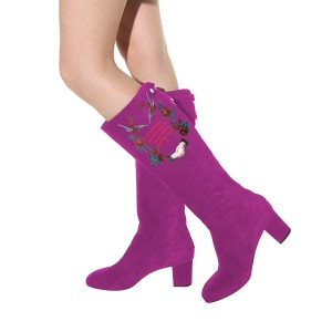 Women's Violet Suede Letter Floral Mid-Calf Chunky Heel Boots