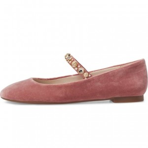 Pink Rhinetones Mary Jane Shoes Comfortable Flats