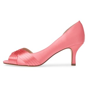 Satin rose peep toe chaton talon chaussures de mariage d'orsay