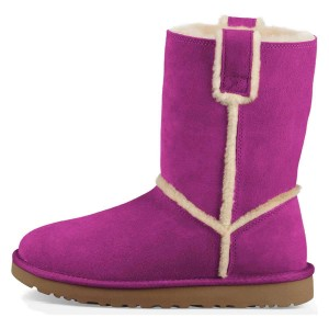 Purple Furry Winter Boots Flat Ankle Boots