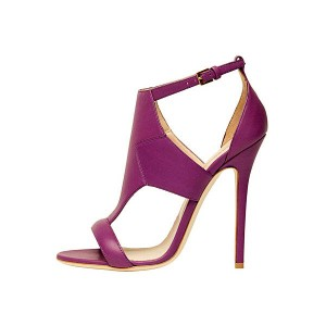 Purple Vegan T Strap Sandals Ankle Strap Stiletto Heels