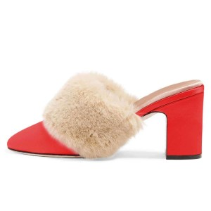 Talons fourrure rouge bout rond talon chunky tendance mules taille US 3-15