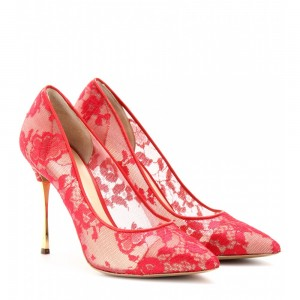 Red Lace Heels Elegant Stiletto Pumps for Prom
