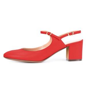 Red Mary Jane Slingback Block Heels Pumps