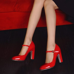 Red Mary Jane Pumps Talons Chunky Vintage Chaussures pour femmes