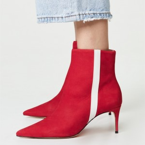 Red Pointy Toe White Stripe Stiletto Heel Ankle booties