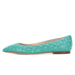 Cyan Quilted Studs Shoes Pointy Toe Confortable Flats