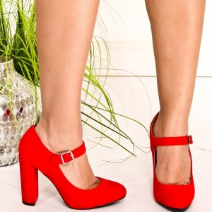 Chaussures en daim rouges Mary Jane à bout rond chaussures à talons chunky