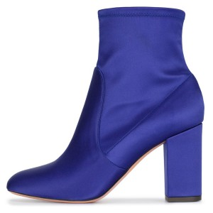 Bottines à talons en satin bleu royal