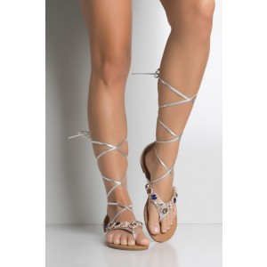 Silver Beach Sandals Gladiator Strappy Sandales plates avec strass