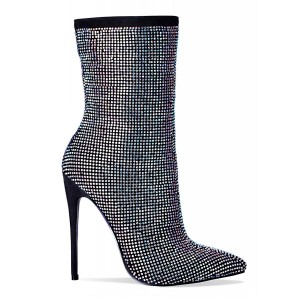Bottines Stiletto noires à bouts pointus en strass Hotfix