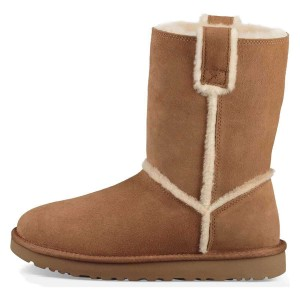 Tan Furry Winter Boots Flat Ankle Boots