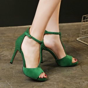 Women's Green T-strap Sandals Peep Toe Stiletto Heels Formal Shoes For Party