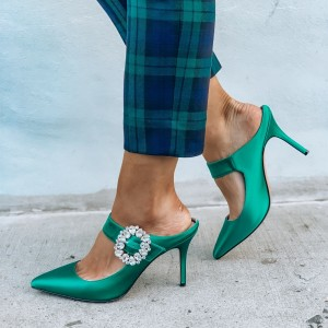 Turquoise Talons Noeud Satin Open Toe Mule Sandales pour Prom