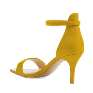 Women's Yellow Patent Leather Stiletto Commuting Heel Ankle Strap Sandals
