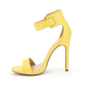Yellow Open Toe Ankle Strap Sandals Stiletto Heels Sandals