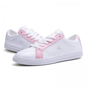 Chaussures école Fei Yue Sneakers blanches et roses à lacets