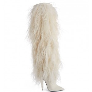 White Fur Boots Pointy Toe Cone Heels Knee-high Boots