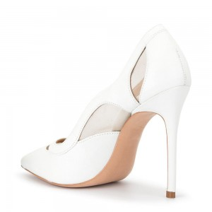 White Mesh Pointy Toe Stiletto Heels Pumps