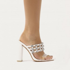Talons clairs blancs mule strass bout ouvert Sandales à talons chunky