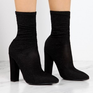 Bottines noires à chaussettes Chunky Heel Fashion Bottines