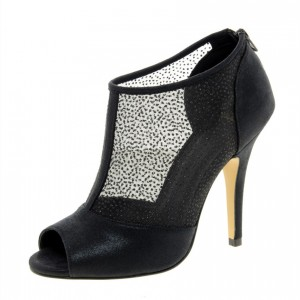 Women's Black Mesh and Leather Fashion Boots Stiletto Heel Ankle Boots