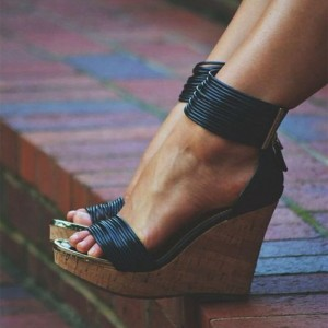 Black Cork Wedges Open Toe Platform Ankle Strap Sandals