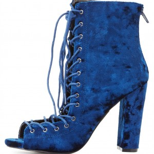 Bottines à lacets en velours bleu
