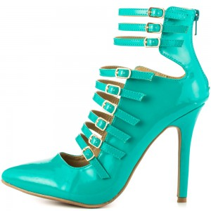 Women's Cyan Stiletto Heels Patent Leather Strappy Summer Boots