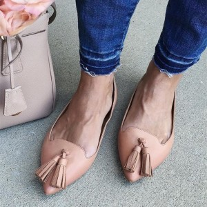 Blush Pointy Toe Flats Tassel Chaussures confortables
