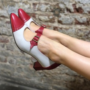 Women's Red And White Mary Jane Pumps Vintage Heels Shoes