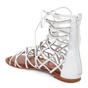 Women's White Gladiator Sandals Hollow out Lace up Flats Size US 4-15
