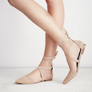 Nude Vegan Suede Pointy Toe Flats Strappy Flat Shoes US Size 3-15