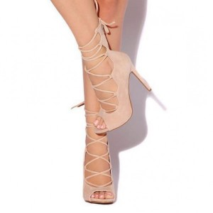 Blush Peep Toe Lace up Strappy Sandals Stiletto Heels Shoes