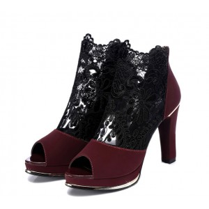 Claret Red Chunky Talons Pour Femmes Peep Toe Lace Sexy Bottines