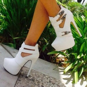 White Cut Out Boots Closed Toe Stiletto Heel Buckles Platform Boots
